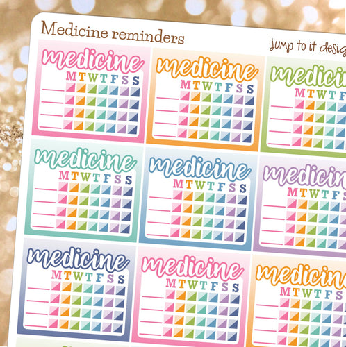Medicine tracker sidebar stickers - Erin Condren Happy Planner - vitamins health