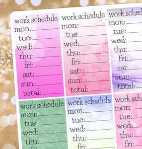 Work Schedule stickers - for Erin Condren Happy Planner Sticker- sidebar