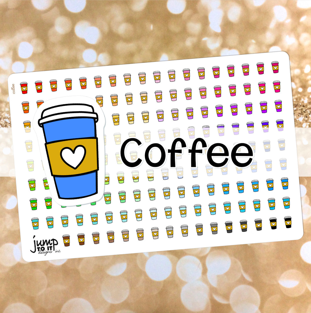 Coffee Functional rainbow stickers  - Happy Planner Erin Condren Recollection TN