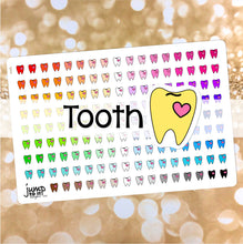 Load image into Gallery viewer, Tooth Dentist Functional rainbow stickers  - Happy Planner Erin Condren Recollection TN - teeth medical