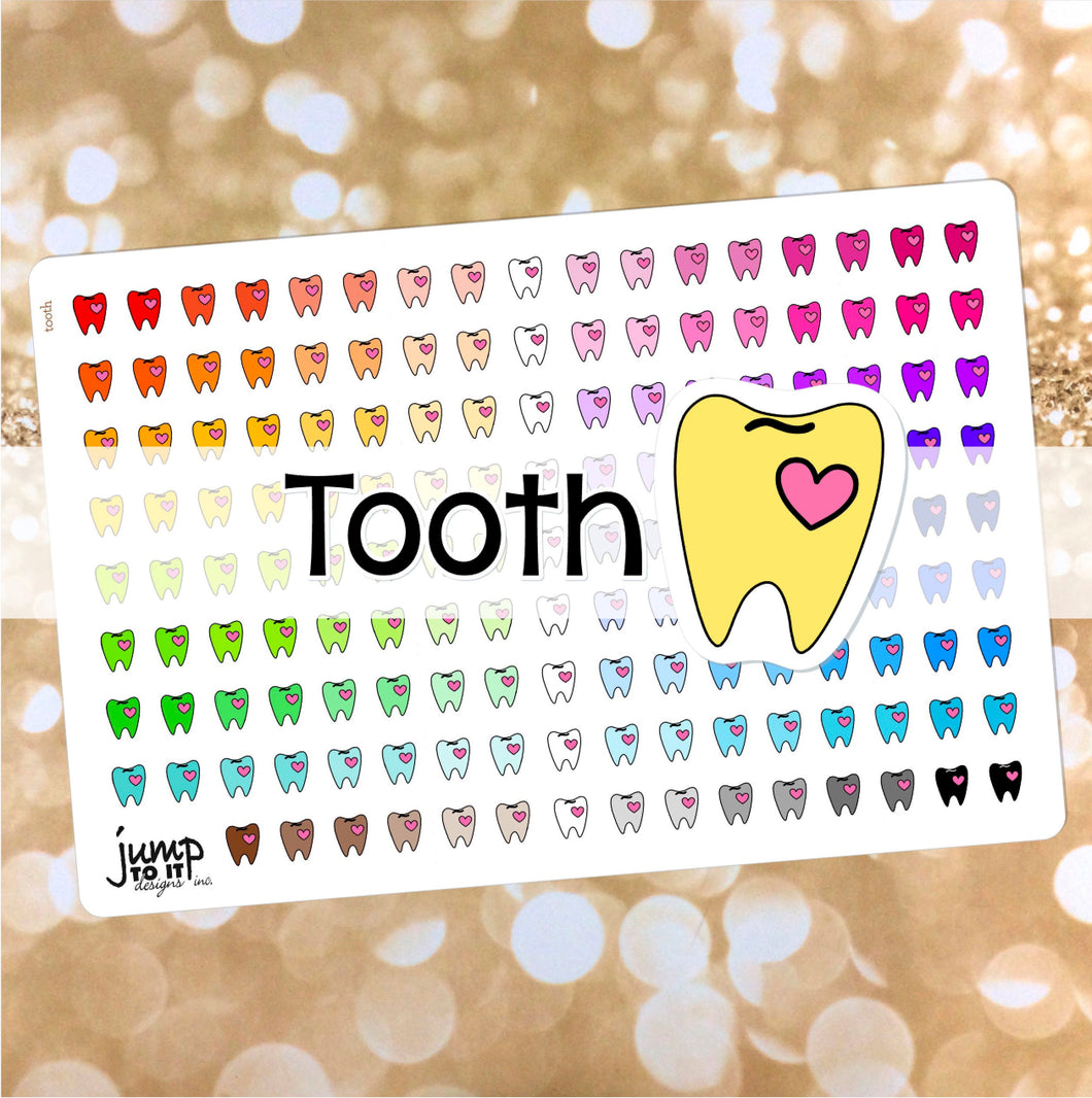 Tooth Dentist Functional rainbow stickers  - Happy Planner Erin Condren Recollection TN - teeth medical