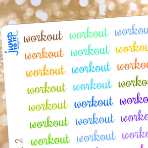 Workout reminder exercise stickers - for Erin Condren Happy Planner - weights yoga pilates aerobics