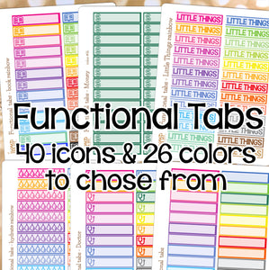 Functional Tabs CUSTOM Sheets Little Things Littles -Erin Condren Happy Planner - cleaning hydrate laundry money shopping workout