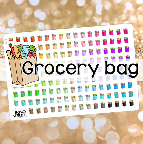 Grocery Bag Functional rainbow stickers  - Happy Planner Erin Condren Recollection TN - shopping food