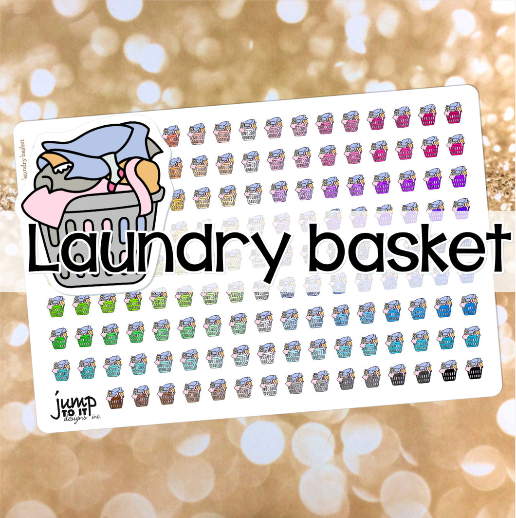 Laundry Basket Functional rainbow stickers  - Happy Planner Erin Condren Recollection TN - chores