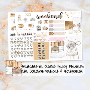 Gold Office sampler stickers - for Happy Planner, Erin Condren Vertical and Horizontal Planners
