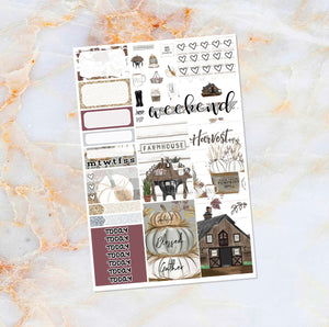 Farmhouse Harvest sampler stickers - for Happy Planner, Erin Condren Vertical and Horizontal Planners