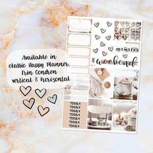 Winter White sampler stickers - for Happy Planner, Erin Condren Vertical and Horizontal Planners