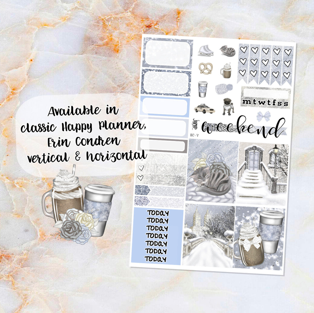 Winter in the City sampler stickers - for Happy Planner, Erin Condren Vertical and Horizontal Planners