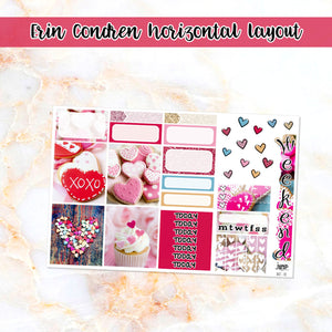 Sweet Valentine sampler stickers - for Happy Planner, Erin Condren Vertical and Horizontal Planners