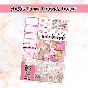 Valentine Love sampler stickers - for Happy Planner, Erin Condren Vertical and Horizontal Planners