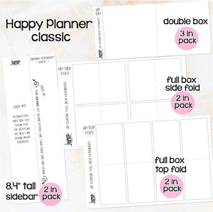 Box Extenders - Happy Planner Erin Condren Recollection - full box, double box & sidebar