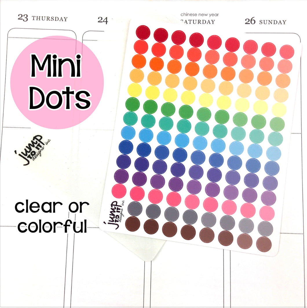 Mini Dots - Happy Planner Erin Condren Recollection Hobonichi - colorful & clear