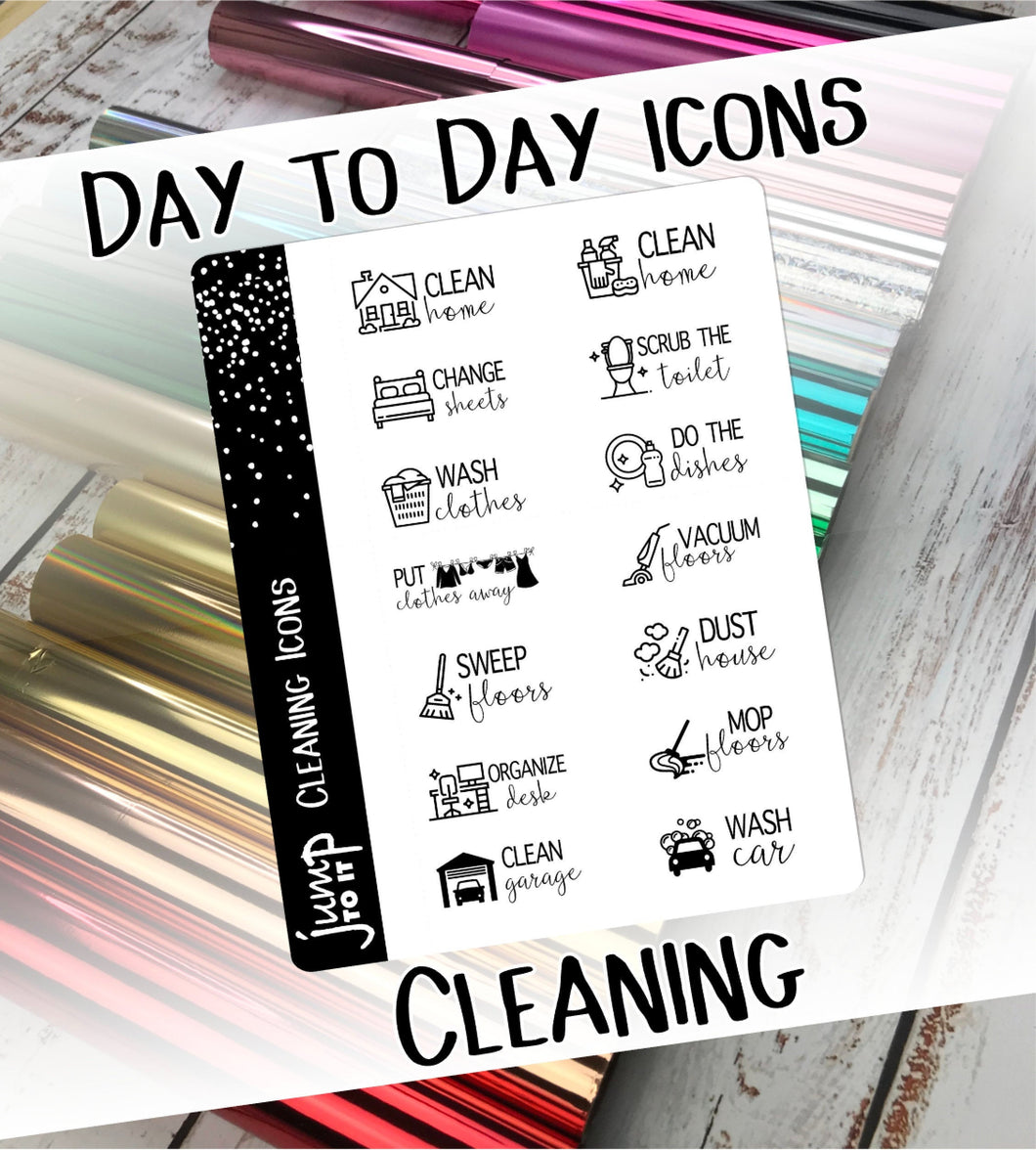 Foil Planner Stickers - CLEANING Day to Day icons - Erin Condren Happy Planner B6 Hobo - chores vacuum
