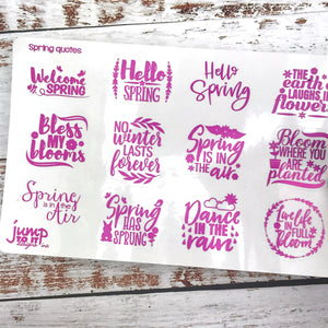 Foil Planner Stickers - SPRING QUOTES - Erin Condren Happy Planner Big Mini B6 Hobo