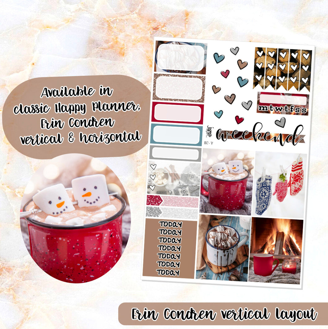 Mittens & Marshmallows sampler stickers - for Happy Planner, Erin Condren Vertical and Horizontal Planners