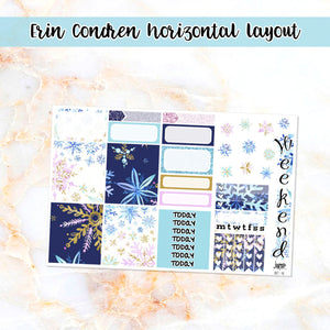 Snowflakes sampler stickers - for Happy Planner, Erin Condren Vertical and Horizontal Planners