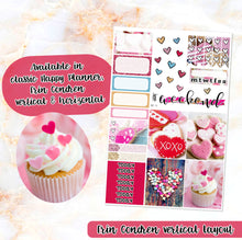 Load image into Gallery viewer, Sweet Valentine sampler stickers - for Happy Planner, Erin Condren Vertical and Horizontal Planners