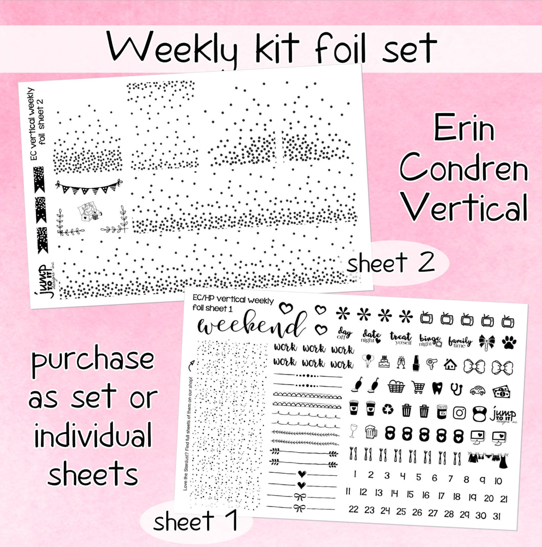 Foil weekly kit BUNDLE - ECLP VERTICAL, Plum Paper Planner planner stickers - overlay confetti icons bow banner