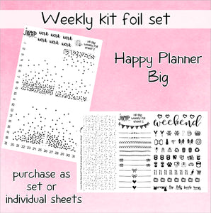 Foil weekly kit BUNDLE - Happy Planner BIG stickers - overlay confetti icons bow banner