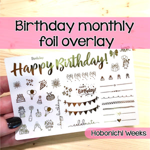 Happy Birthday Monthly Foil Overlay - Hobonichi Weeks - stickers Celebrate