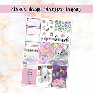 Koala Love sampler stickers - for Happy Planner, Erin Condren Vertical and Horizontal Planners