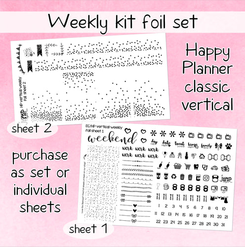 Foil weekly kit BUNDLE - Happy Planner classic stickers - confetti icons bow banner