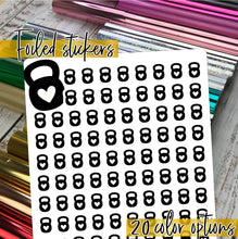 Load image into Gallery viewer, Foil Planner Stickers - KETTLEBELL workout icon - Erin Condren Happy Planner B6 Hobo - crossfit gym