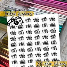 Load image into Gallery viewer, Foil Planner Stickers - MONEY Payday icon - Erin Condren Happy Planner B6 Hobo - bills