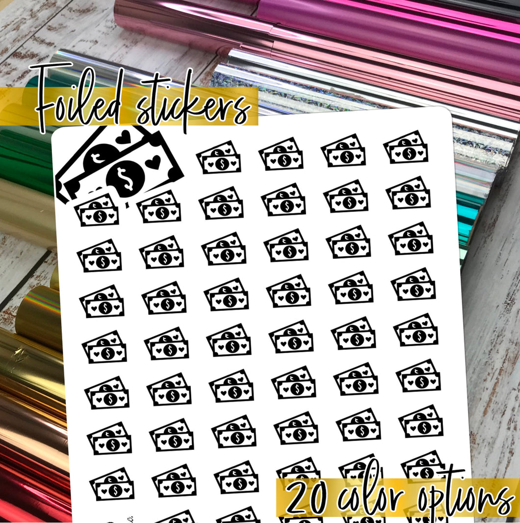 Foil Planner Stickers - MONEY Payday icon - Erin Condren Happy Planner B6 Hobo - bills