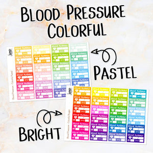 Blood Pressure Colorful Bright & Pastel planner stickers - medical health heart