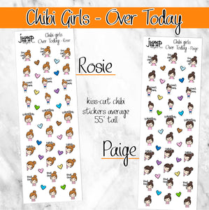 OVER TODAY Chibi Girls planner stickers-  mad angry
