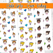 Load image into Gallery viewer, OVER TODAY Chibi Girls planner stickers-  mad angry