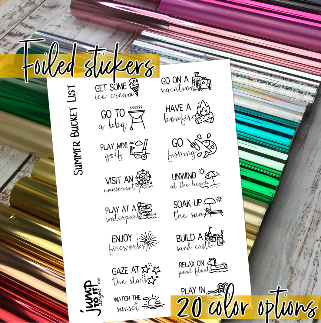 Foil - SUMMER Bucket List planner stickers - Erin Condren Happy Planner B6 Hobo - June July August activities