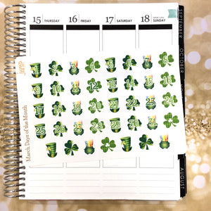 March Days of the Month stickers -for Erin Condren Happy Planner - St Patrick's Day clover shamrock leprechaun luck green countdown