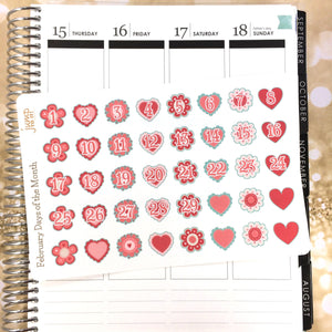 February Days of the Month stickers-for Erin Condren Happy Planner