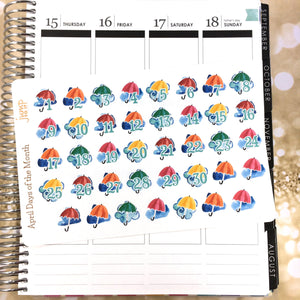 April Days of the Month / Countdown stickers - for ECLP Happy Planner - teachers rain umbrella