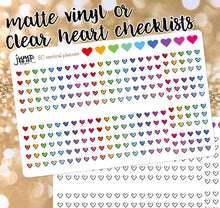 Load image into Gallery viewer, Heart checklists - clear or matte vinyl stickers - Erin Condren vertical horizontal, Happy Planner, Recollection - rainbow