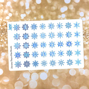 January Days of the Month stickers - for Erin Condren MAMBI Happy Planner - winter snowflakes