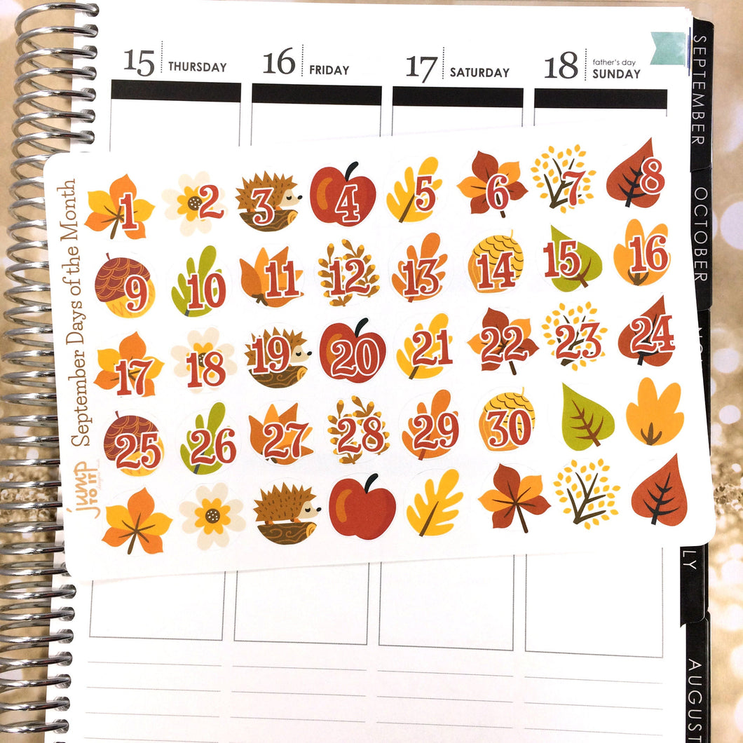 September Days of the Month / Countdown stickers - for Erin Condren Happy Planner - fall autumn