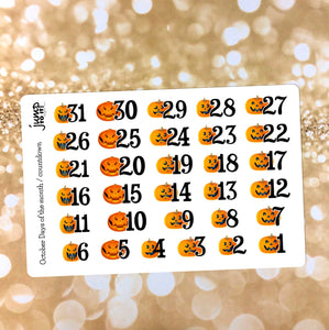 October Halloween Countdown / Days of the Month stickers - for Erin Condren Happy Planner Sticker