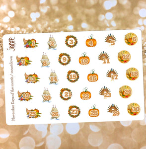 November Countdown / Days of the Month stickers - for Erin Condren Happy Planner Sticker - turkey pumpkin