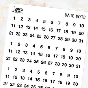 Day date dots - Erin Condren Happy Planner B6 Hobo - monthly days