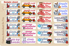 Load image into Gallery viewer, Household Chores stickers - Customized sheets! Over 50 choices - for Erin Condren Happy Planner - cleaning laundry