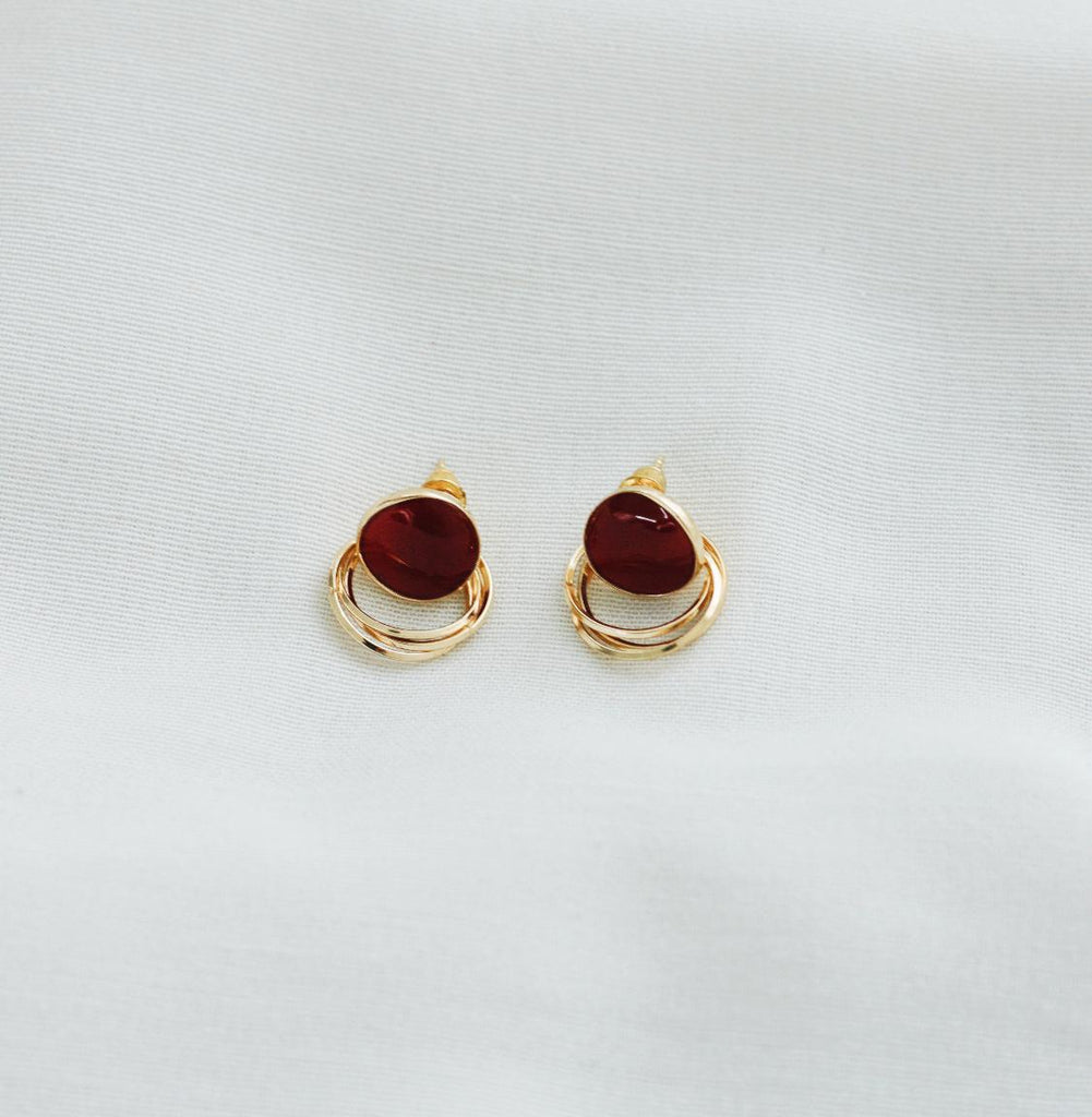 KIRA EARRINGS (WINE)