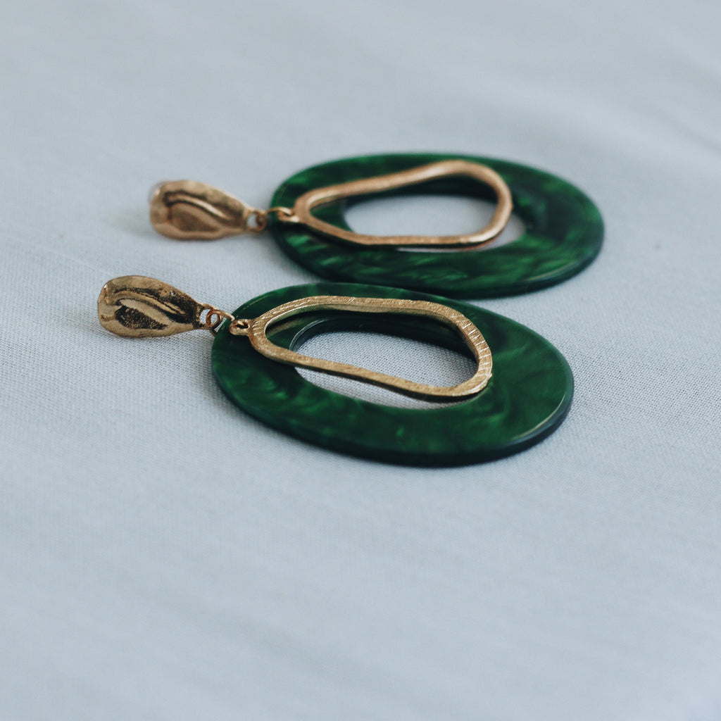 MACAROON EARRINGS - EMERALD