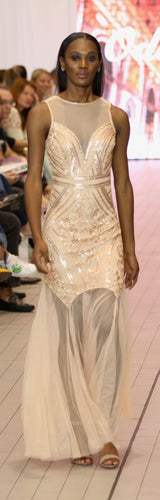 A-line floor length gold gown