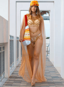 Beige Bikini with Gold accents , with Gold Chiffon cape.