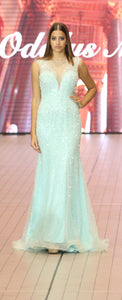 A-line deep-V seafood floor length mermaid style gown