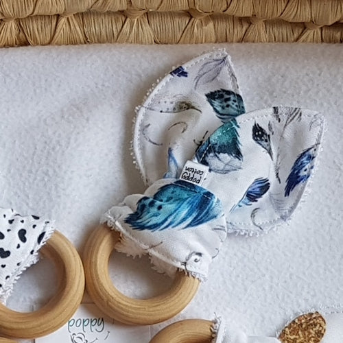 Organic Maple Teether - Blue Feathers